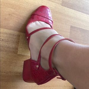 Zara Red Leather baby doll shoes 38